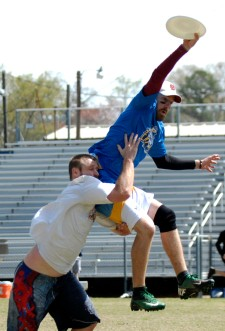 The new Charlotte Express ultimate Frisbee team takes to the field during a scrimmage game.