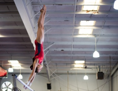 Emily Schild concentrates as she goes through a practice routine at Everest Gymnastics in Huntersville.