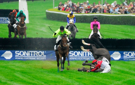 The horse Special Skills, and his jockey Willie McCarthy loose footing after the final jump during The King George, III race at the Queen's Cup in Mineral Springs, NC on Saturday April 25, 2015.
