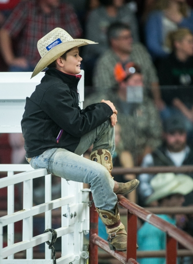 Tyler Villarreal smiles as he watches an act in between events during the Devils Lake NDRA Shootout at the Burdick Arena in Devils Lake, ND on Saturday, September 24, 2016. (Joshua Komer/Grand Forks Herald)