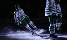 University of North Dakota's Shane Gersich slides to a stop during home team introductions against Duluth at the Ralph Engelstad Arena in Grand Forks on Friday, January 20, 2017. (Joshua Komer / Grand Forks Herald)