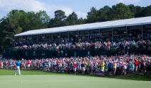 Rory McIlroy is greeted by a standing ovation as he enters the 18th hole during the final round of the Wells Fargo Championship at the Quail Hollow Club on Sunday May 17, 2015.