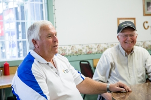 Kent Gronlie, left, and Willard Pedersen enjoy breakfast most mornings in Cool Stuff's cafe in Northwood, ND on thursday July 16, 2015. (Grand Forks Herald/ Joshua Komer)