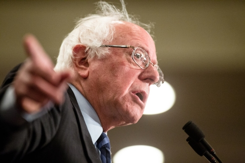 Sen. Bernie Sanders speaks during his rally in Fargo at the Ramada Inn.