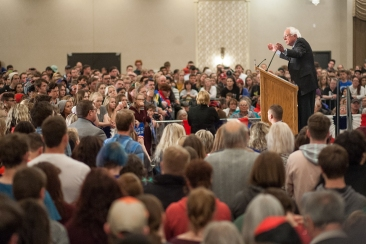 Sen. Bernie Sanders speaks to the crowd during his rally in Fargo on Friday (Joshua Komer / Grand Forks Herald)