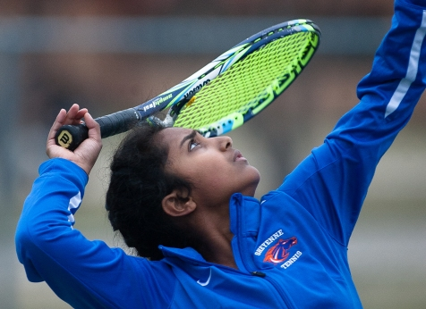West Fargo Sheyenne's Preeti Chemiti serves up the ball against Red River during the season opener in Grand Forks, ND on Tuesday, April 15, 2016.